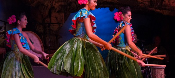Hula dancers at the Drums of the Pacific Luau, Maui